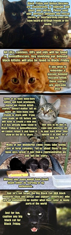 AnimalRescues and Black_Friday Invitation To Tell Us Your Rescue, Adoption and Feral Colony Stories