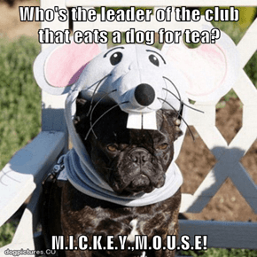 Who's the leader of the club that eats a dog for tea?  M.I.C.K.E.Y.,M.O.U.S.E!