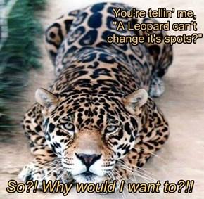 """You're tellin' me,  """"A Leopard can't change it's spots?"""""""