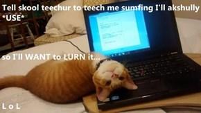 Tell skool teechur to teech me sumfing I'll akshully *USE*  so I'll WANT to LURN it... L o L