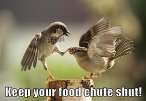 Keep your food chute shut!