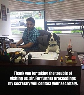 Thank you for taking the trouble of visiting us, sir. For further proceedings my secretary will contact your secretary.