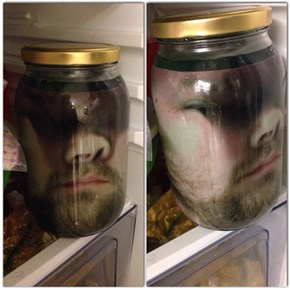 Print Out Face on Paper, Put Paper in Jar, Fill Jar With Green Liquid