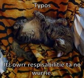 Typos   Itz owrr respisabilitie ta no wurrie.