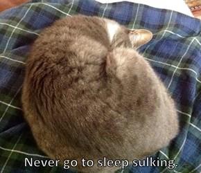 Never go to sleep sulking.