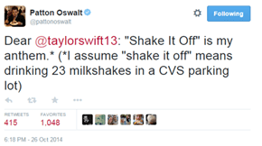 """Not Even Patton Oswalt Can Resist the Charms of """"Shake it Off"""""""
