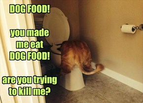 DOG FOOD!  you made  me eat  DOG FOOD!  are you trying to kill me?