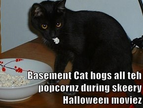 Basement Cat hogs all teh popcornz during skeery Halloween moviez