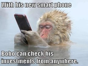 With his new smart phone  Bobo can check his investments from anywhere.
