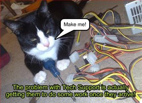 The problem with Tech Support is actually getting them to do some work once they arrive!