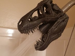 Because You've Been Missing a 3D-Printed T-Rex Skull Shower Head in Your Life