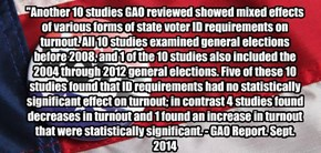 """Another 10 studies GAO reviewed showed mixed effects of various forms of state voter ID requirements on turnout. All 10 studies examined general elections before 2008, and 1 of the 10 studies also included the 2004 through 2012 general elections. Five of"