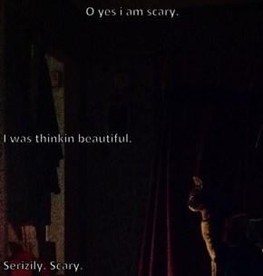 O yes i am scary.  I was thinkin beautiful.  Serizily. Scary.