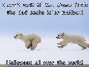I can't wait til Ms. Jones finds the ded snake in'er mailbox!  Halloween all over the world!