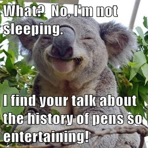 What?  No, I'm not sleeping.  I find your talk about the history of pens so entertaining!