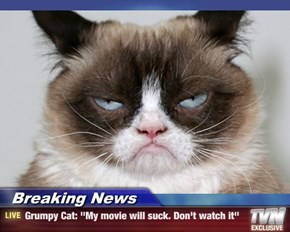 "Breaking News - Grumpy Cat: ""My movie will suck. Don't watch it"""