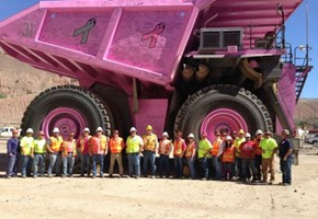 ASARCO Ray Mining Haul Truck Paint to Support Breast Cancer Awareness