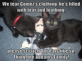 We tear Gomez's clothing, he's filled with fear and loathing,  please scratch our ears like so, Thing, the Addams Family!