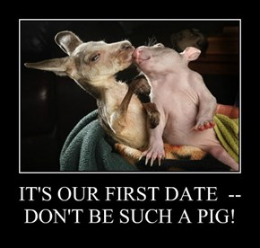 IT'S OUR FIRST DATE  --  DON'T BE SUCH A PIG!