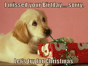 I missed your Birtday.... sorry.  Let's try for Christmas.