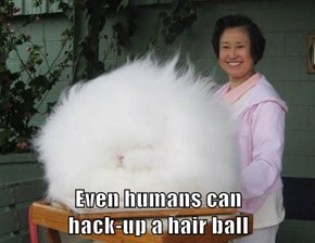 Even humans can                                      hack-up a hair ball