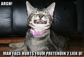 ARGH!   MAH FACE HURTS FRUM PRETENDIN 2 LIEK U!