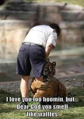 I love you too hoomin, but...                                    Dear God you smell                          like waffles