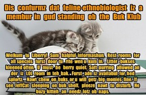 Offishul JeffCatsBookClub Memburship Kard for feline-ethnobiologist