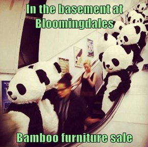 In the basement at Bloomingdales  Bamboo furniture sale