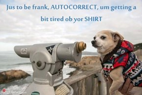 Jus to be frank, AUTOCORRECT, um getting a bit tired ob yor SHIRT