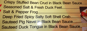 Creative menu...I'll pass on the Crud however.