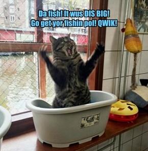 Da fish! It wus DIS BIG!  Go get yor fishin pol! QWIK!