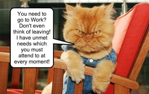 You need to  go to Work?  Don't even think of leaving! I have unmet needs which you must attend to at every moment!