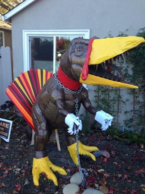 Dug the Lawn Dinosaur Gets Dressed Up for Thanksgiving