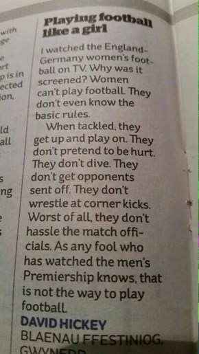 "A Very Clever Letter to the Editor About ""Why Women Can't Play Soccer"""
