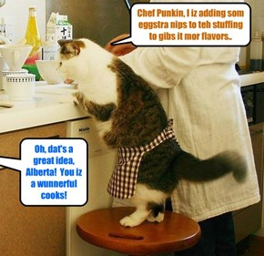 While her hubcat Coach Bellbottoms an' her much loved son Stewie habs volunteered to bring foods out to teh tables, Alberta Bellbottoms helps Chef Punkin in teh kitchen to prepare a bery tasty Fanksgiving Day Feast!