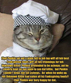Chef Punkin duz a bery good deed on Fanksgiving Day for teh Unknowed Kitteh!