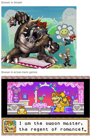 Bowser in Smash Games vs in Mario Games