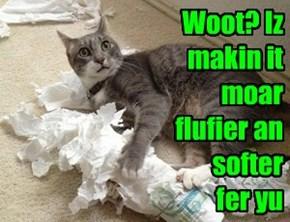 Woot? Iz makin it moar flufier an softer  fer yu