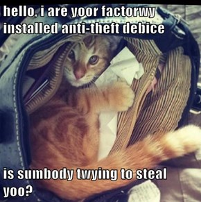 hello, i are yoor factorwy installed anti-theft debice  is sumbody twying to steal yoo?
