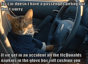 My car doesn't have a passenger airbag but don't worry,  If we get in an accident all the McDonalds napkins in the glove box will cushion you
