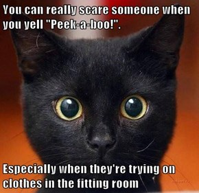 """You can really scare someone when you yell """"Peek-a-boo!"""".   Especially when they're trying on clothes in the fitting room"""