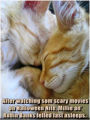 After watching som scary movies on Halloween Nite, Millie an' Robin Banks felled fast asleeps..