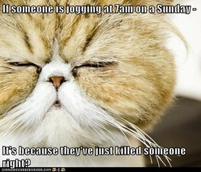 If someone is jogging at 7am on a Sunday -  It's because they've just killed someone right?