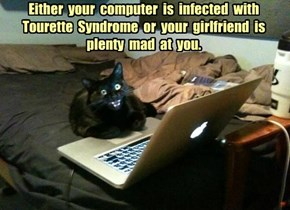 Either  your  computer  is  infected  with  Tourette  Syndrome  or  your  girlfriend  is  plenty  mad  at  you.