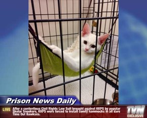 Prison News Daily - After a contentious Civil Rights Law Suit brought against KKPS by popular Skolar Snookers, KKPS were forced to install comfy hammocks in all dare Time Out Bawkses.