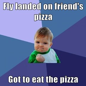 Fly landed on friend's pizza  Got to eat the pizza