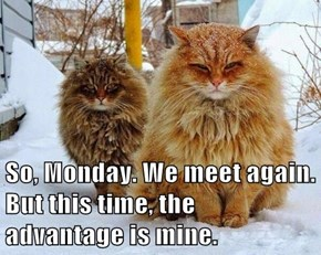 So, Monday. We meet again. But this time, the advantage is mine.