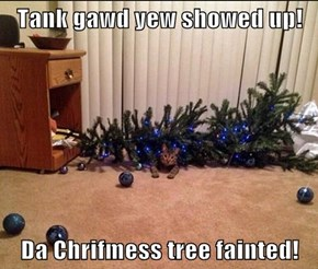 Tank gawd yew showed up!  Da Chrifmess tree fainted!