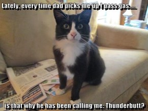 Lately, every time dad picks me up I pass gas.....  is that why he has been calling me: Thunderbutt?